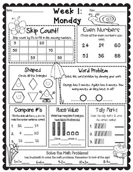 April Language Arts & Math Warm-Up Work by Free Falling in
