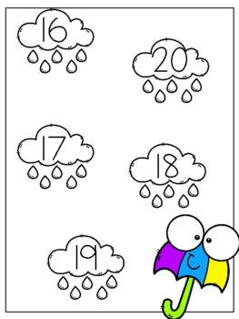 April Showers: Number Matching Printable File Folder Game