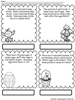 Math Word Problems ~ APRIL ~ Grades 2-3 by Kennedy's