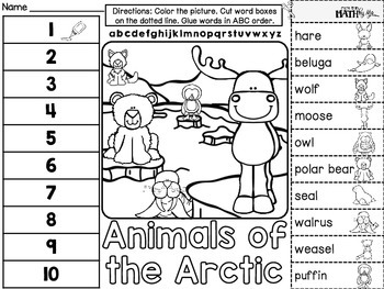 Arctic Animals ABC Order Cut and Paste FREEBIE: Level 2 by