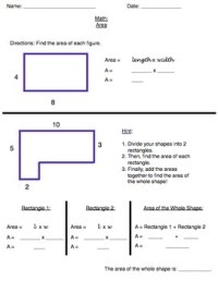 Area Common Core Worksheet: Irregular Shapes: Grade 3