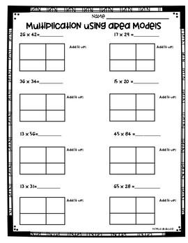 Area Model Multiplication Worksheets (3.NBT.2 and 4.NBT.5