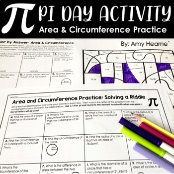 Pi Day Worksheets Area And Circumference Of Circles