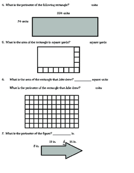 Area and Perimeter Review (TEKS 3.6C and 3.7B) by Dana