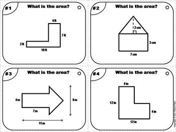 Area of Composite Figures Task Cards 5th 6th 7th 8th 9th