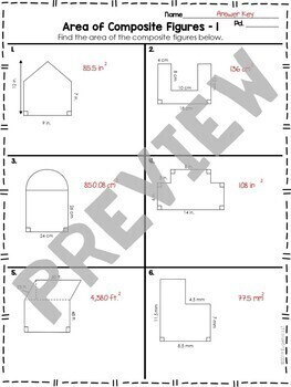 Area of Composite Figures Worksheet Practice by Eugenia's