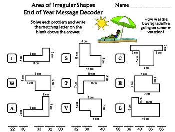 Area of Irregular Shapes Game: End of Year Math Activity