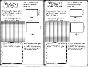 Area of Rectangles, Parallelogram, Triangles, and