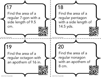 Area of Regular Polygons Task Cards by Mrs E Teaches Math