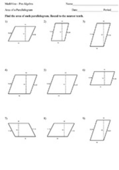 Area Of A Parallelogram Worksheets By Mathvine