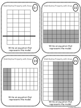 Area with Distributive Property Task Cards and Quiz by The