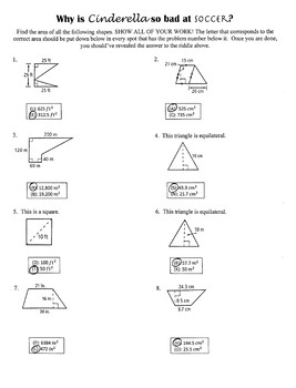 Areas Of Polygons Riddle Worksheet By Math Doesn T Suck