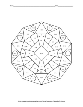 Areas of Triangles and Quadrilaterals Color by Number by