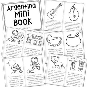 Argentina Country Study Mini Book, Coloring Pages