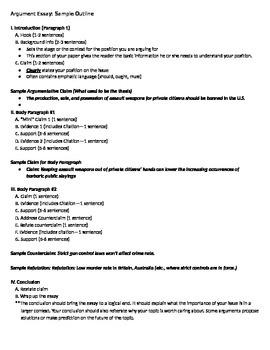 Argument Essay Sample Outline FSA By Academics Come