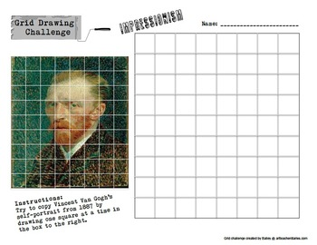 Grid Drawing Challenge  Art History Worksheets  Set of