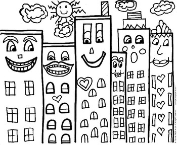 Art Lesson: James Rizzi Inspired Buildings Handouts by