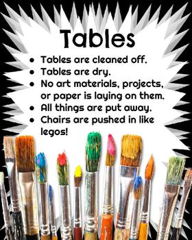 Art Room Clean Up Posters Art Classroom Management TpT