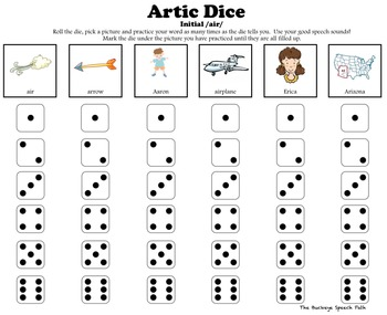 Artic Dice 6: Vocalic /R/ Articulation Practice for Speech
