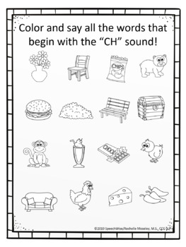 Articulation Coloring Sheets for CH and SH Speech Sounds