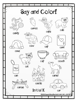 Articulation Coloring Sheets for K and G Speech Sounds