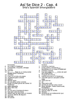 Así Se Dice 2 Vocabulary Chapter 4 Crossword by Srta's