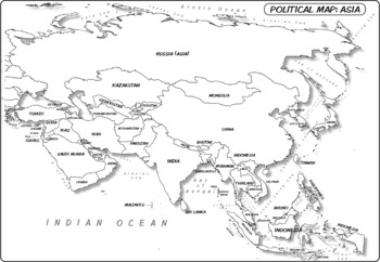 Political Map Of Asia Black And White