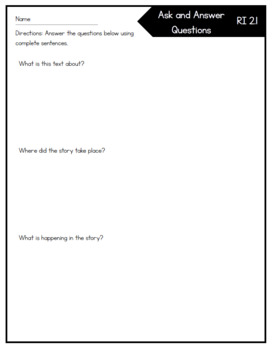 Ask and Answer Questions RI 2.1 Exit Ticket Assessment by