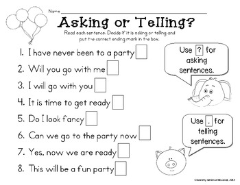 Freebie! Asking and Telling Sentences with Elephant and