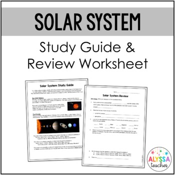 Solar System Study Guide and Review Worksheet (SOL 4.7