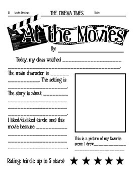 At The Movies Elementary Movie Worksheet By Crocodiles And Cuttlefish