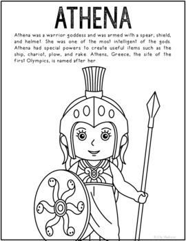 Athena, Greek Mythology Informational Text Coloring Page