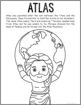 Atlas, Greek Mythology Informational Text Coloring Page