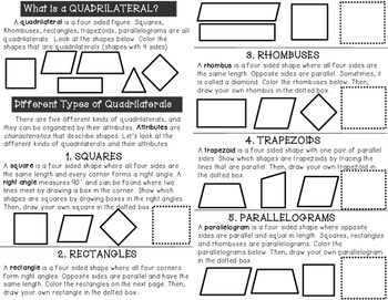 Attributes of Quadrilaterals Minibook plus vocabulary