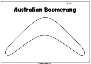 Australian Boomerang, A4 Black and White by Hedgehog