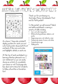 Australian Money Activity Worksheets by Apples and Antics
