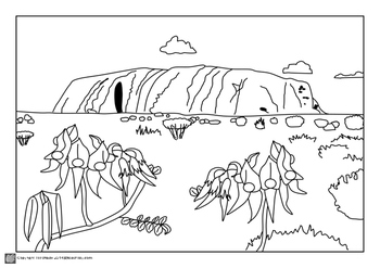 Australian Outback Colouring Pages and Pre-coloured by