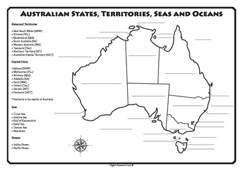 Australian States, Territories, Capital Cities, Seas and