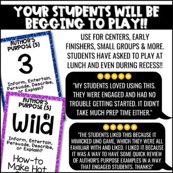Author's Purpose Game {5 Types} for Literacy Centers: U