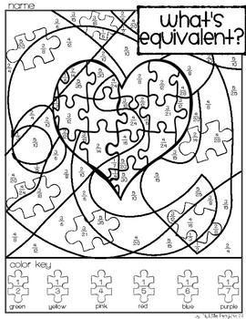 Autism Awareness Simplify Fractions Coloring page (no prep