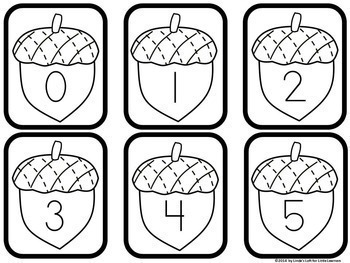 Fall Acorn Number Flashcards 0-20 by Linda's Loft for