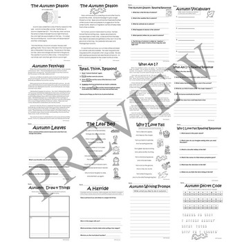 Autumn Fall Literacy and Math Activity Packet for Grade 2
