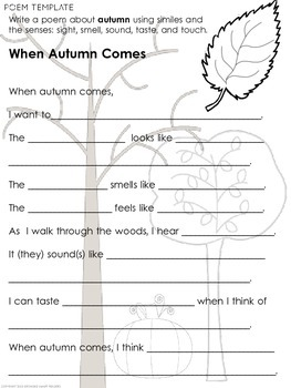 Autumn-Fall Poetry: Reading and Writing Activities by