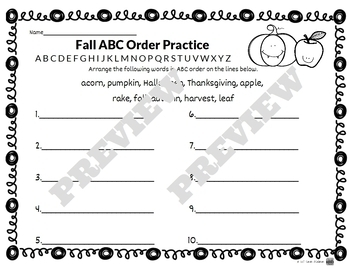 Autumn / Fall-Themed Library Skills Printable Worksheets