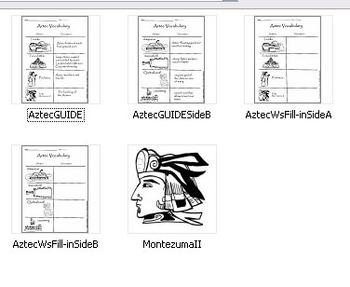 Aztec Visual Vocabulary Worksheet! BONUS Montezuma II BW