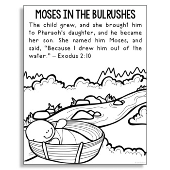 BABY MOSES IN THE BULRUSHES Bible Story Coloring Page
