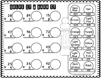 Multiplication Activity: Two Digit by One: Math Workshop
