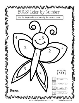 BUGS! Color By Number for Preschool and Kindergarten by