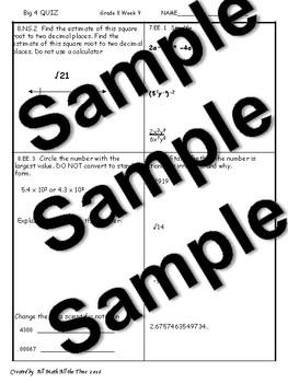 BUNDLE Big Four Bellringers 8th Grade Math Common Core