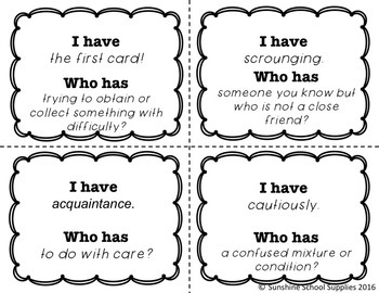 BUNDLE 4th Grade Vocabulary Games for EVERY Week by